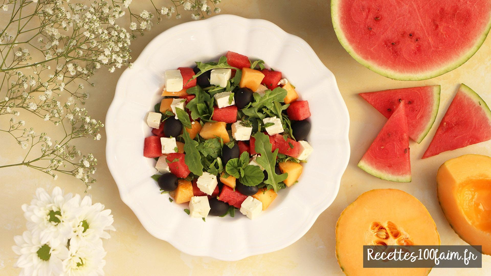 recette salade pasteque melon feta olive