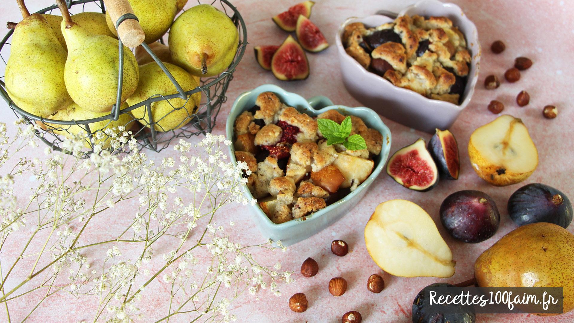 recette crumble figue poire noisett