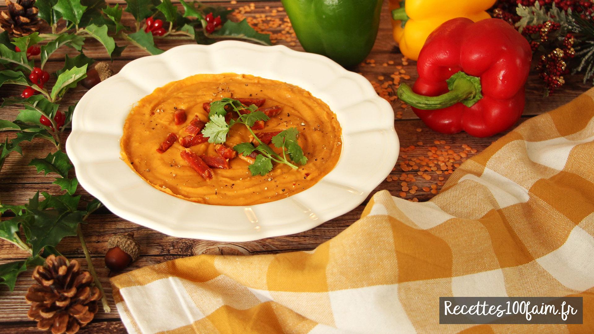 recette soupe lentille corail poivron chorizo coco
