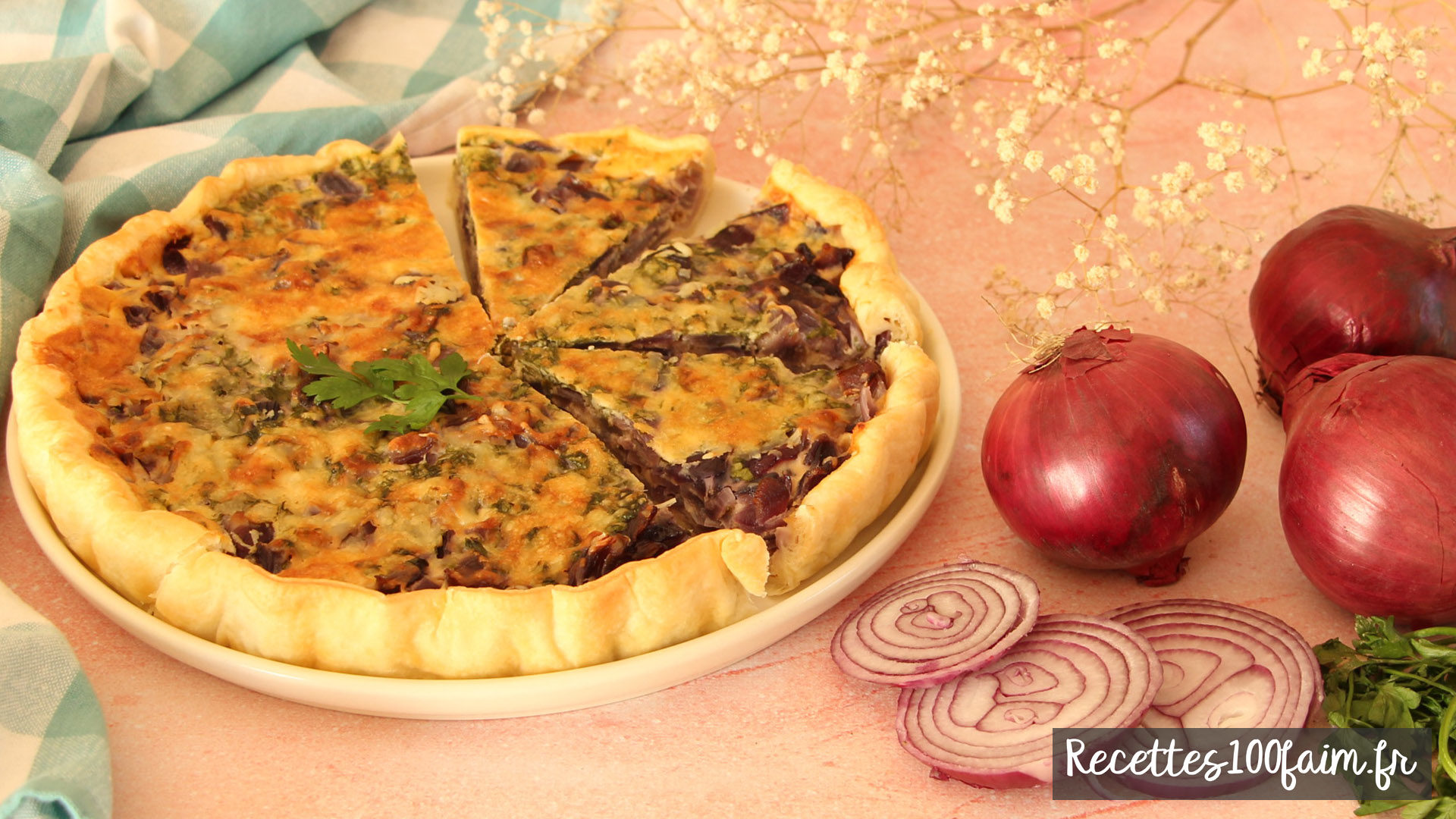 recette tarte oignons rouges persil moutarde