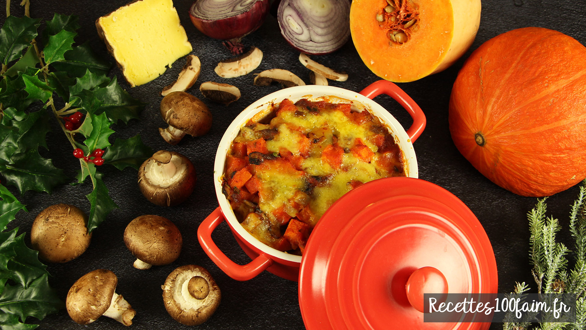 recette gratin courge champignons tomate