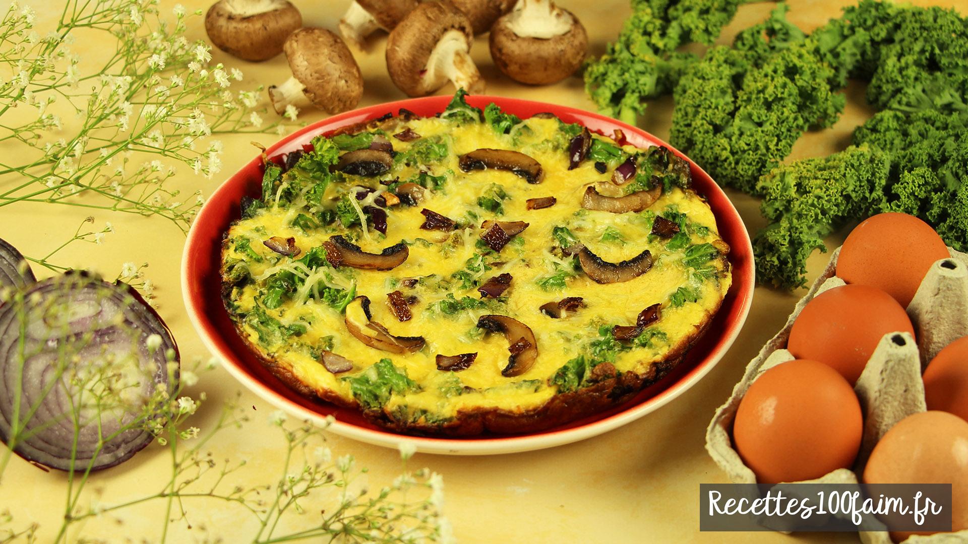 recette omelette chou kale champignons