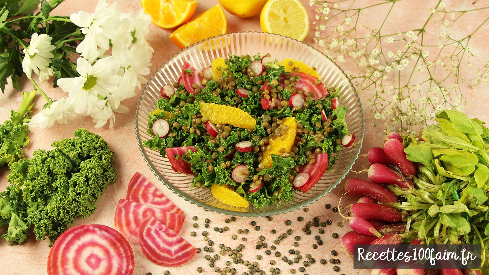 recette salade chou kale orange betterave radis