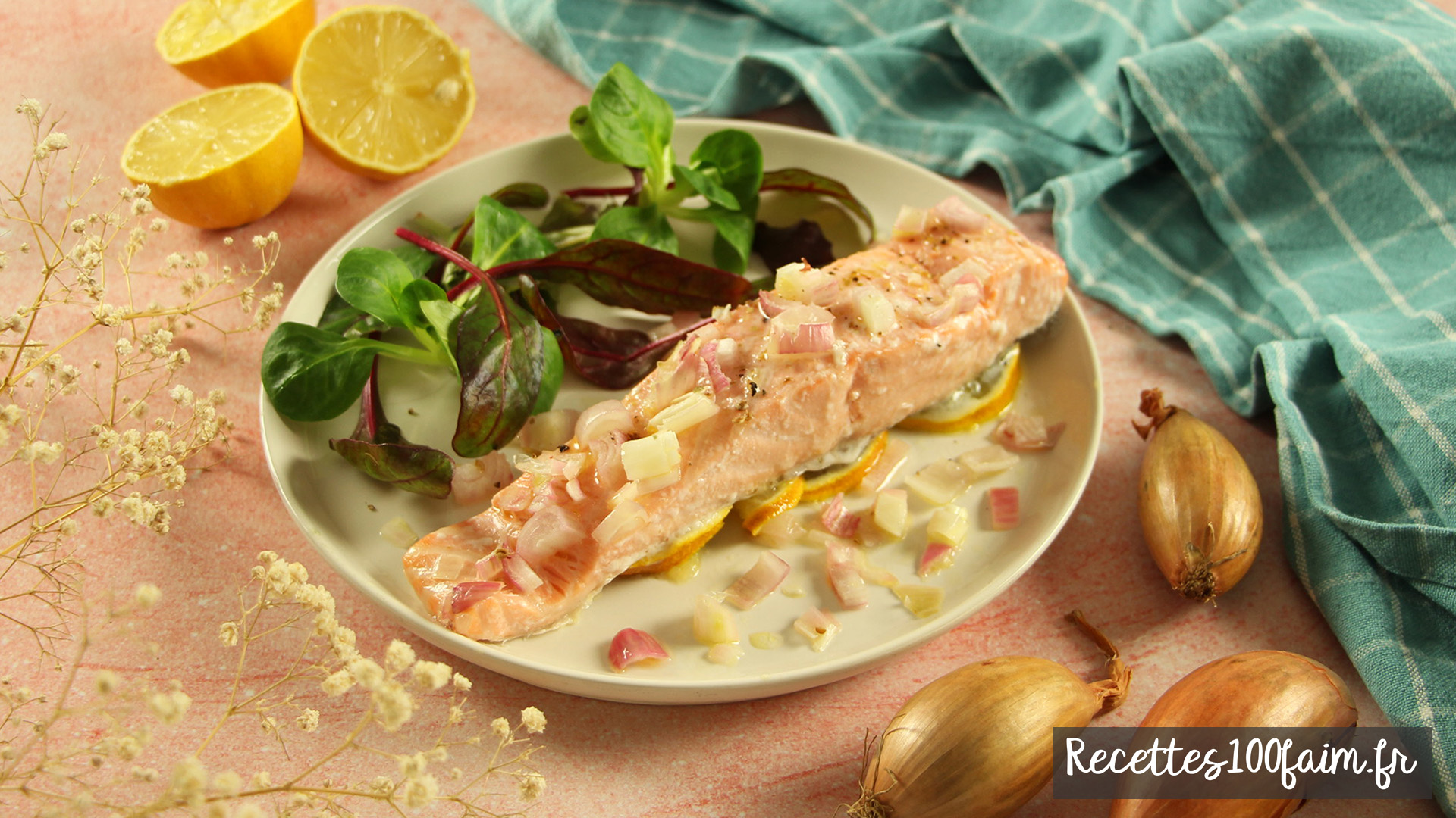 recette saumon four echalote vin huile citron