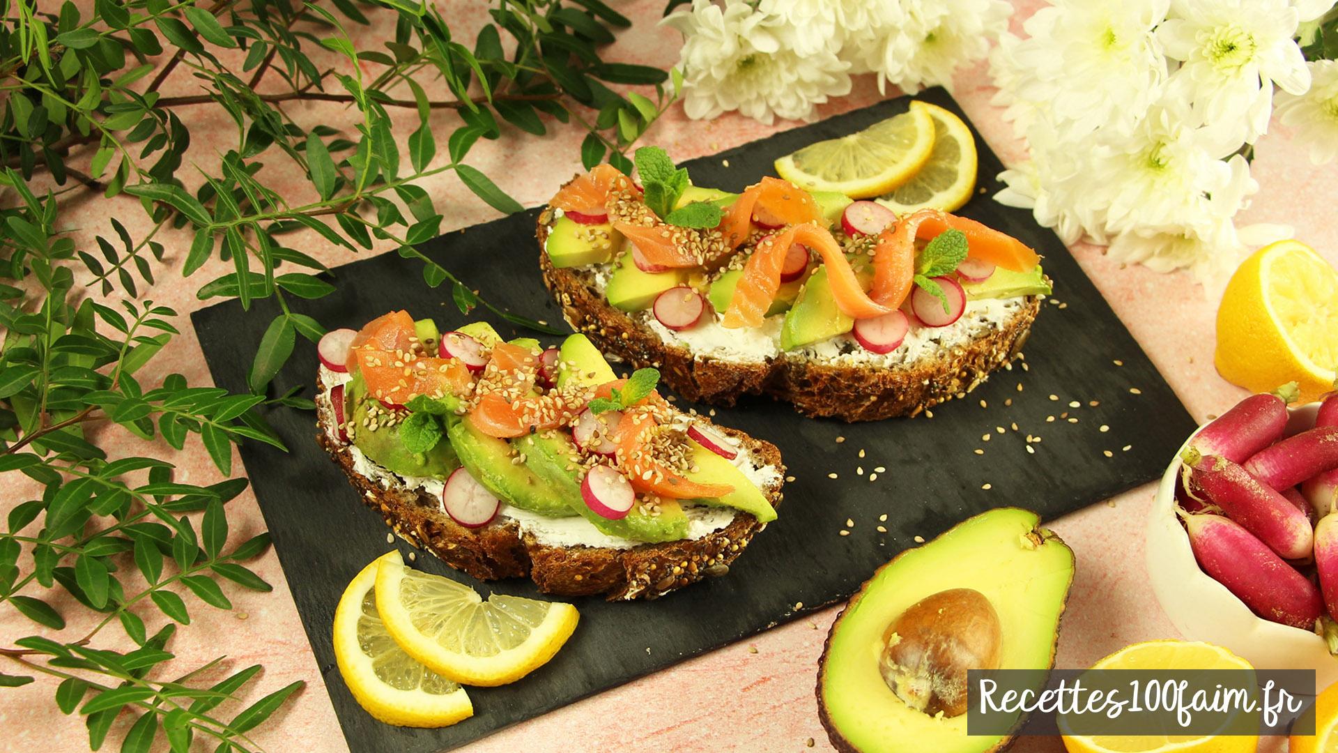recette tartine saumon avocat radis chevre