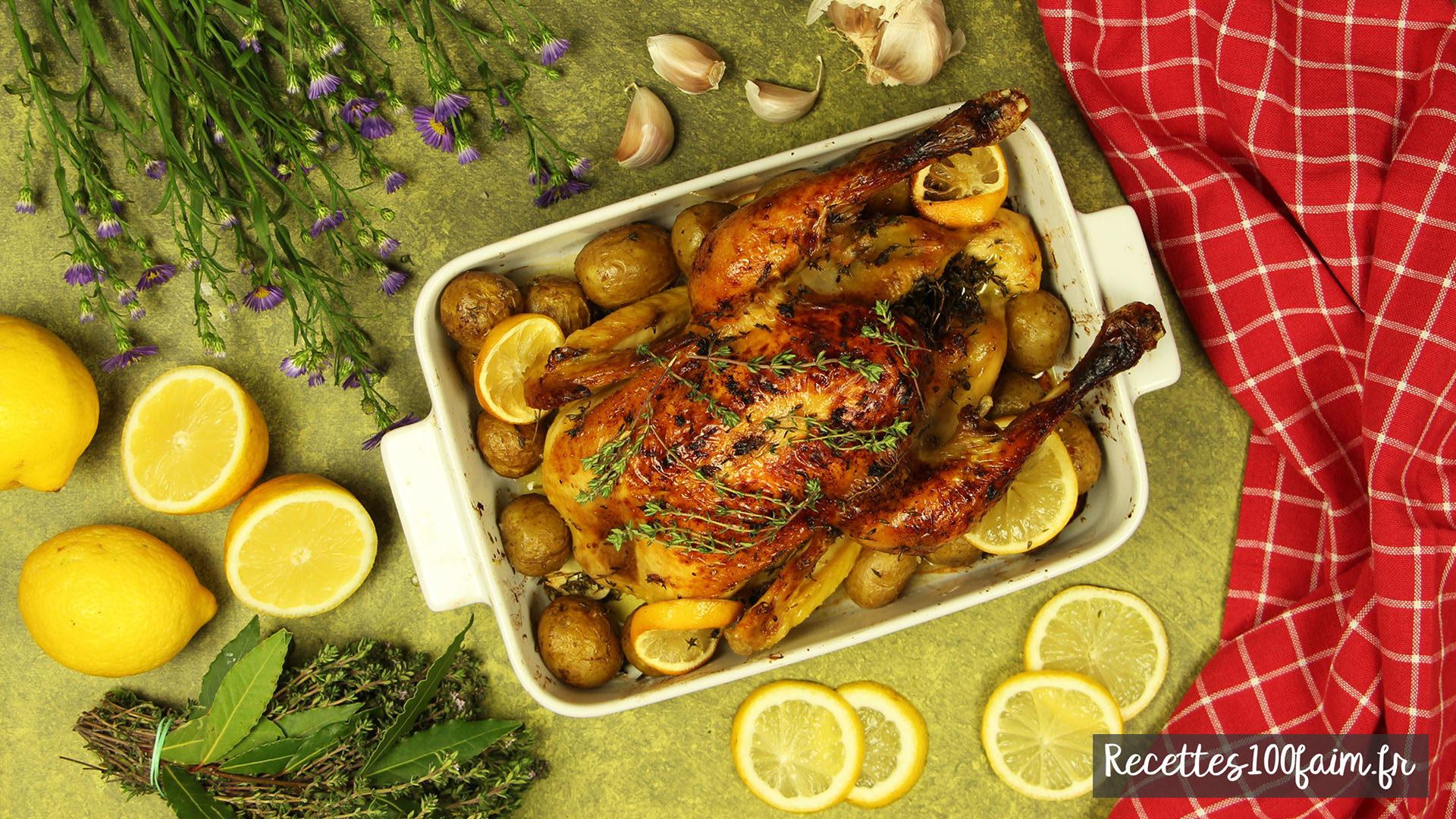 recette poulet roti miel thym citron