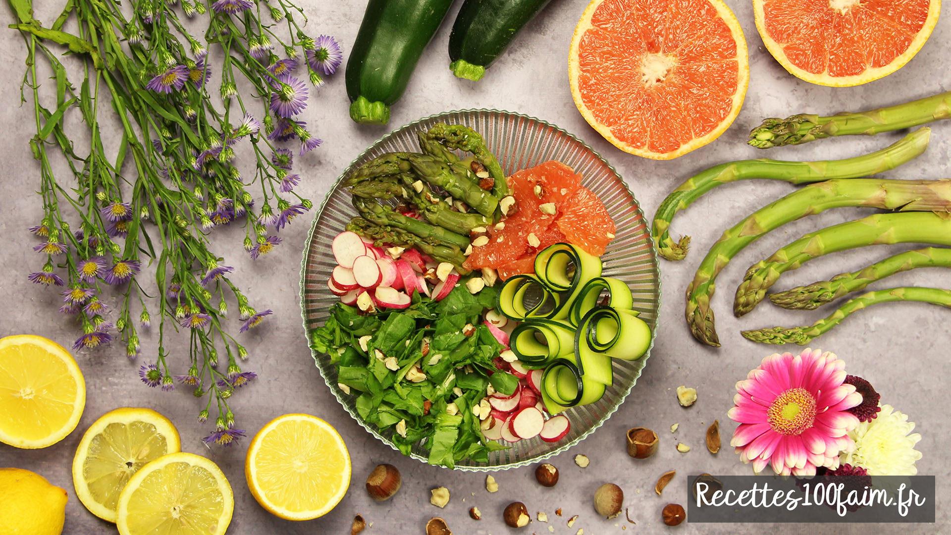 recette salade asperge radis epinard pamplemousse courgette