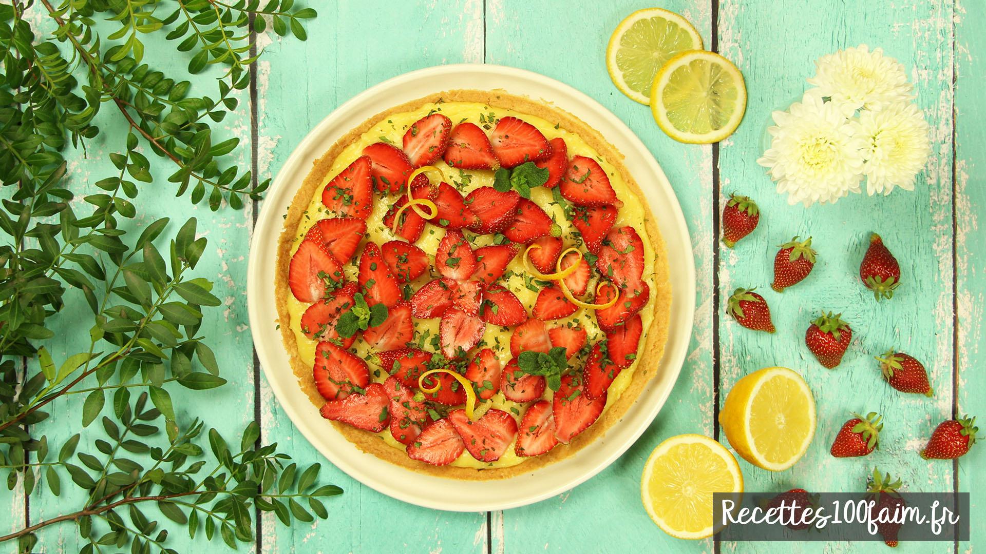 recette tarte lemon curd fraise menthe
