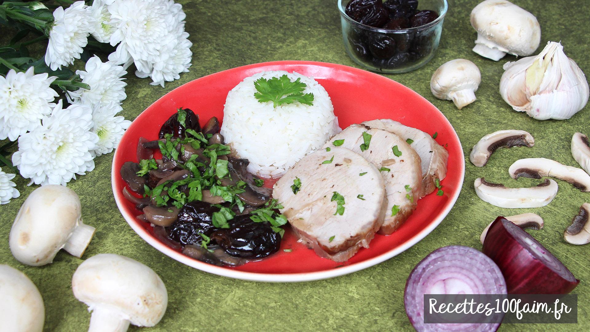 recette roti porc pruneaux champignons